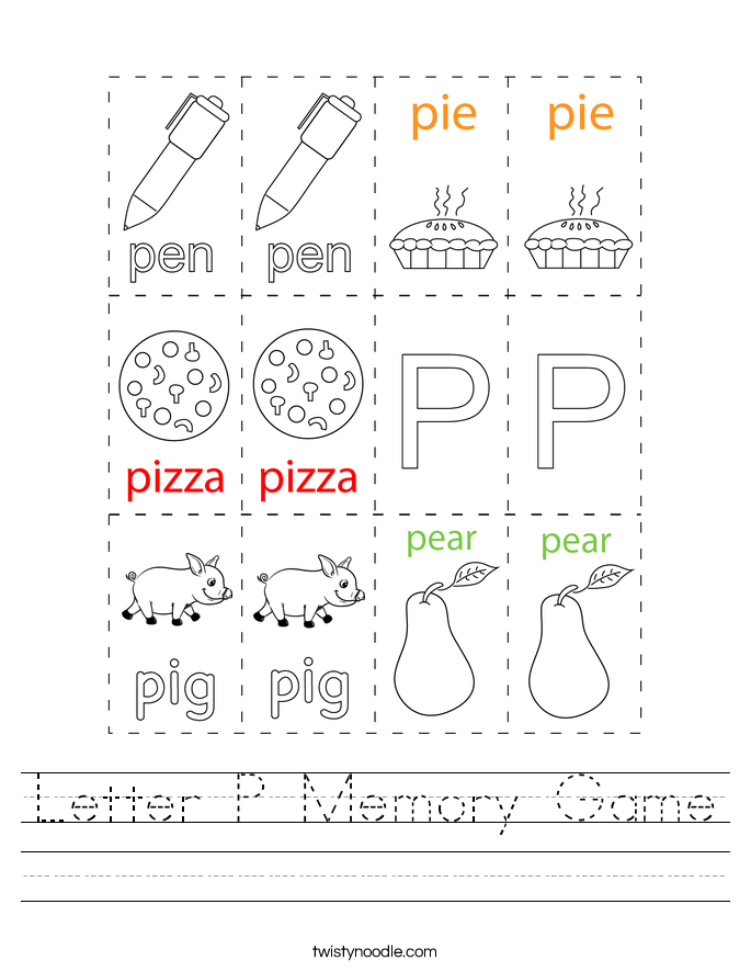 Letter P Memory Game Worksheet