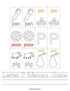 Letter P Memory Game Handwriting Sheet