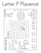 Letter P Placemat Coloring Page