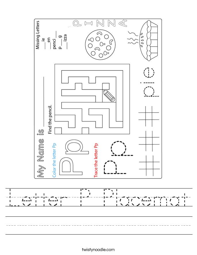 Letter P Placemat Worksheet