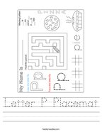 Letter P Placemat Handwriting Sheet