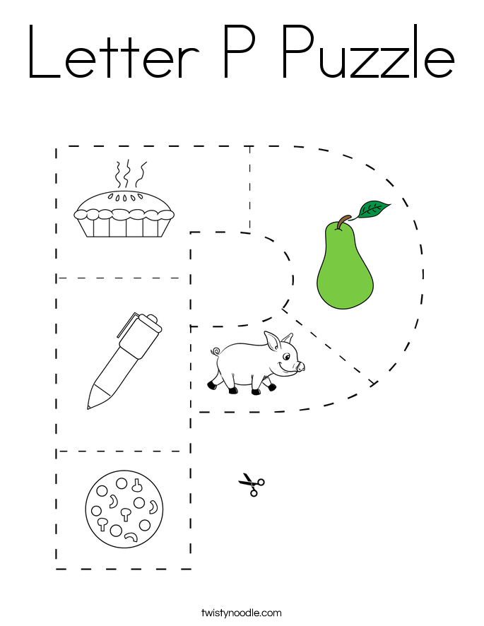 Letter P Puzzle Coloring Page