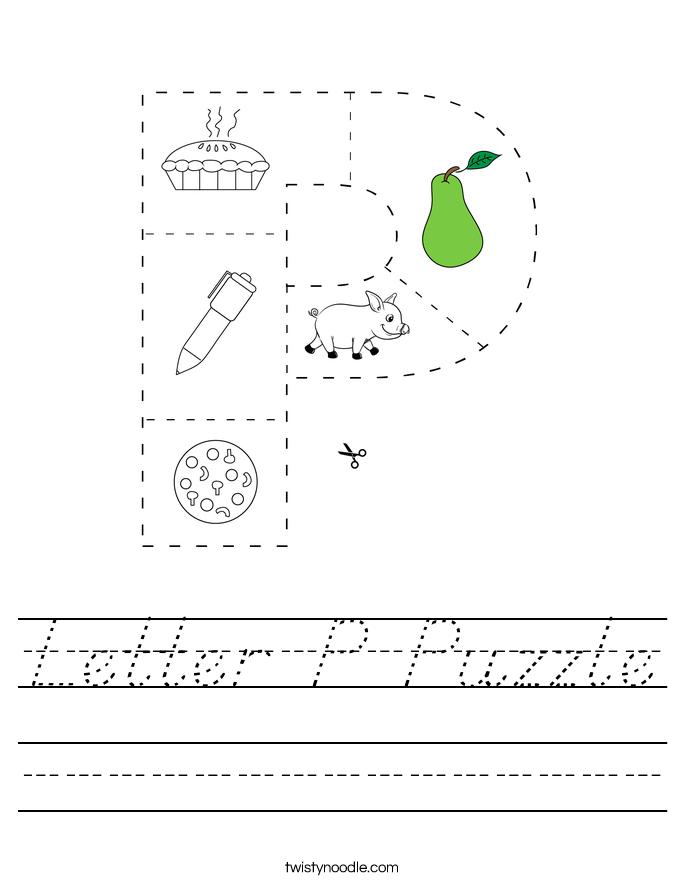 Letter P Puzzle Worksheet