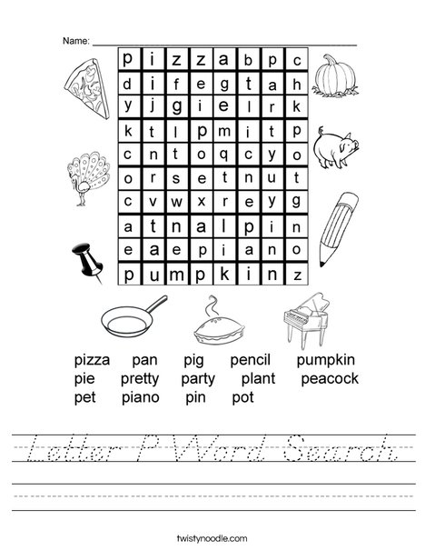 Letter P Word Search Worksheet