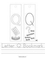 Letter Q Bookmark Handwriting Sheet