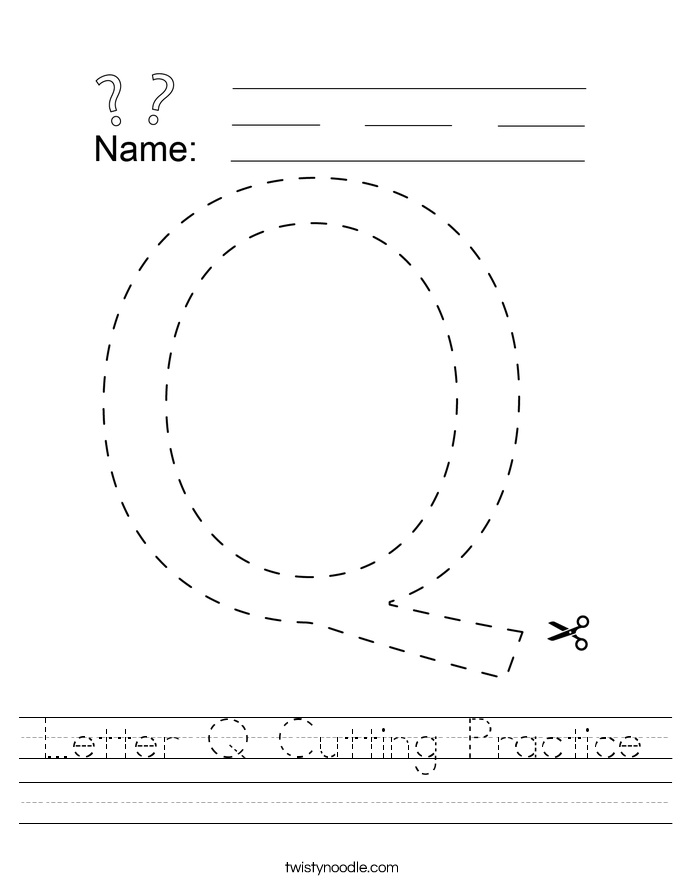 Letter Q Cutting Practice Worksheet