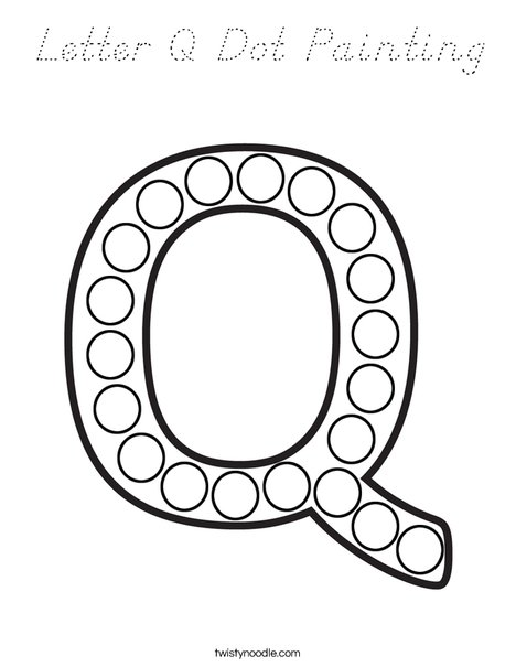 Letter Q Dot Painting Coloring Page