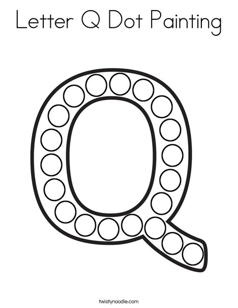 Letter q dot painting coloring page twisty noodle for Mural school