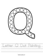 Letter Q Dot Painting Handwriting Sheet