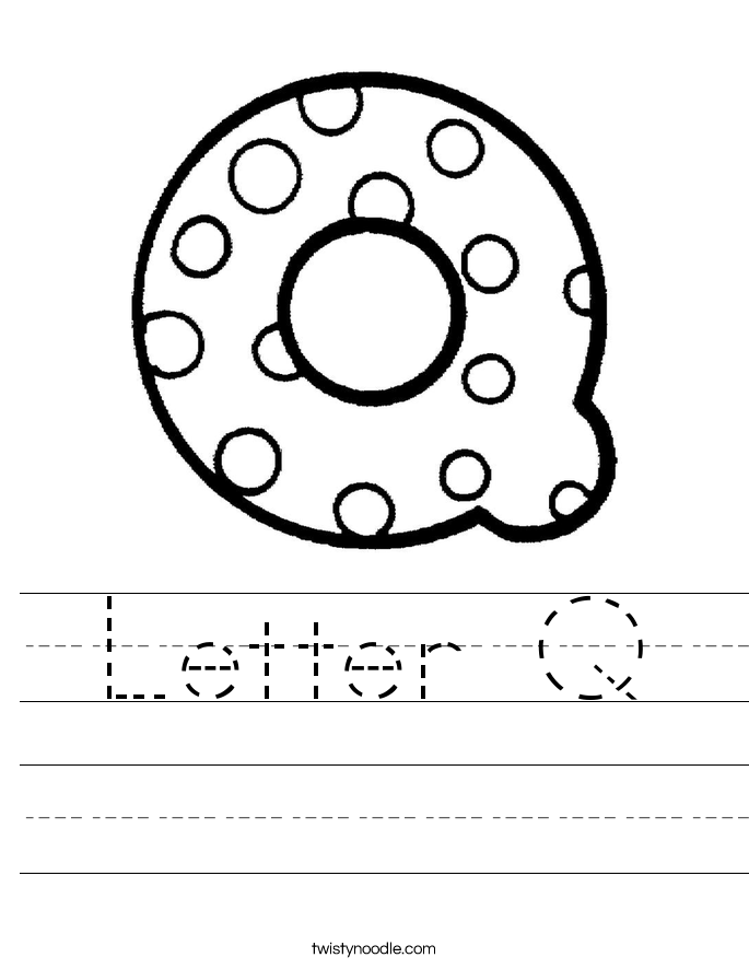 Letter Q Worksheet - Twisty Noodle