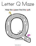 Letter Q Maze Coloring Page