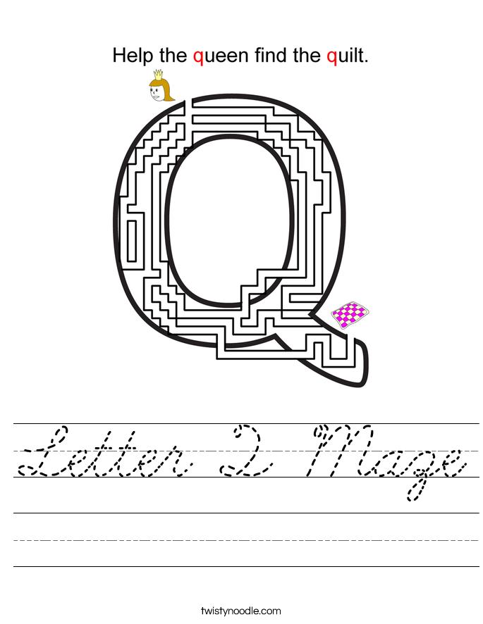 Letter Q Maze Worksheet