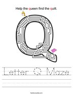 Letter Q Maze Handwriting Sheet