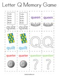 Letter Q Memory Game Coloring Page