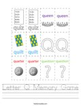 Letter Q Memory Game Worksheet