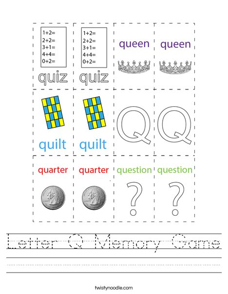 Letter Q Memory Game Worksheet