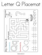 Letter Q Placemat Coloring Page