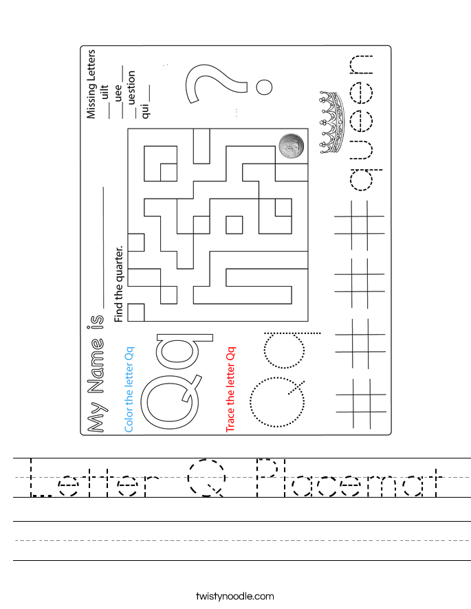 Letter Q Placemat Worksheet