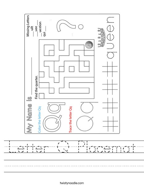 Letter Q Placemat Worksheet