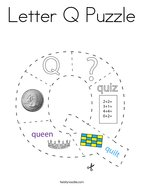 Letter Q Puzzle Coloring Page