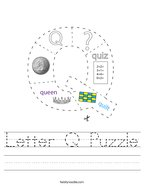 Letter Q Puzzle Handwriting Sheet