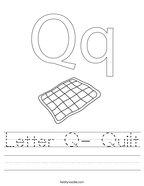 Letter Q- Quilt Handwriting Sheet