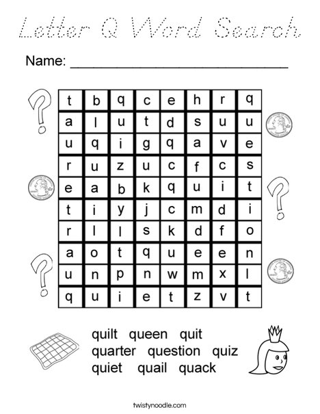 Letter Q Word Search Coloring Page