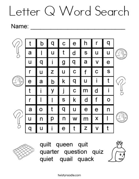 Letter Q Word Search Coloring Page - Twisty Noodle