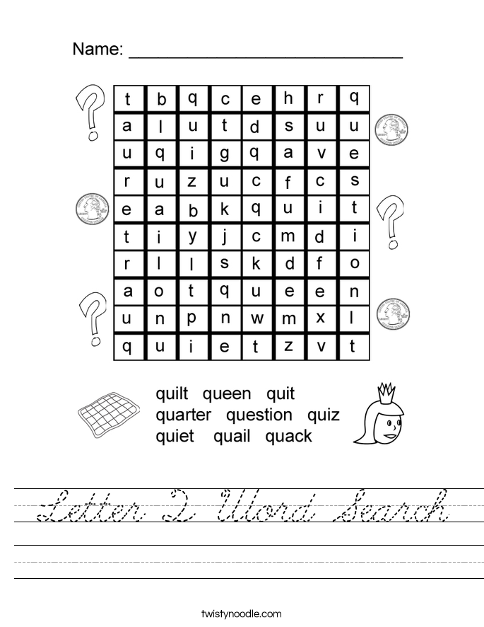 Letter Q Word Search Worksheet