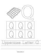 Uppercase Letter Q Handwriting Sheet