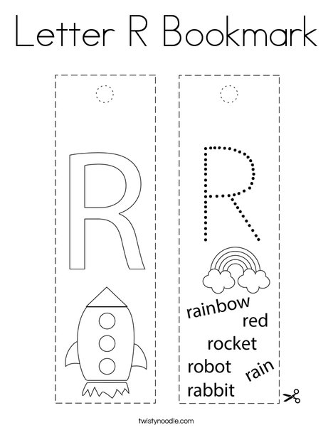 Letter R Bookmark Coloring Page
