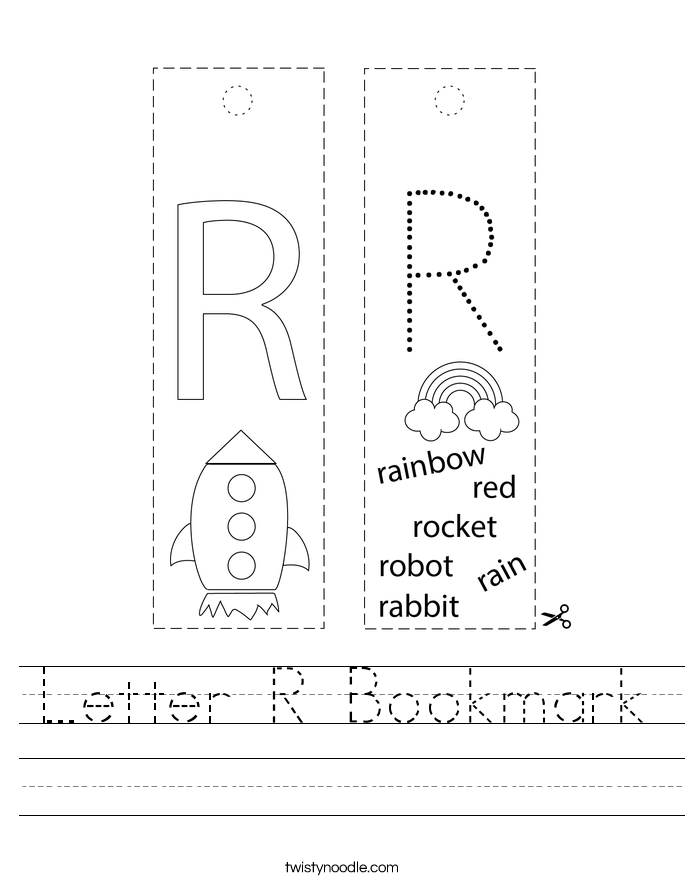 Letter R Bookmark Worksheet