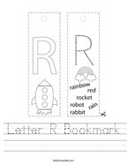 Letter R Bookmark Handwriting Sheet