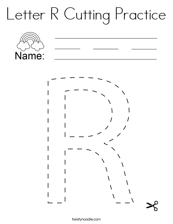 Letter R Cutting Practice Coloring Page