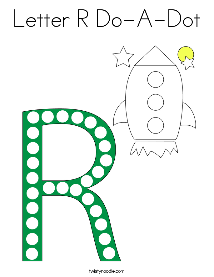 Letter R Do-A-Dot Coloring Page