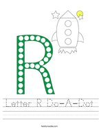 Letter R Do-A-Dot Handwriting Sheet