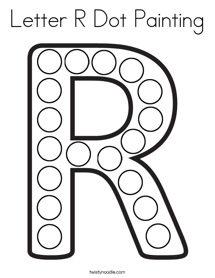 Letter R Dot Painting Coloring Page