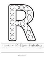 Letter R Dot Painting Handwriting Sheet