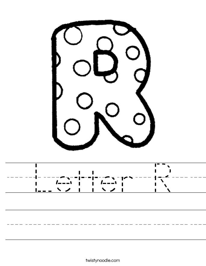Letter R Worksheet Twisty Noodle