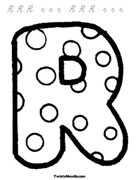bubble letter r lowercase. Letter R Dots Coloring