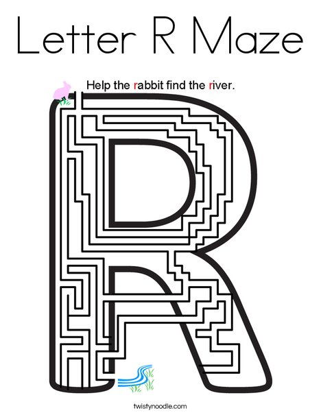 Letter R Maze Coloring Page