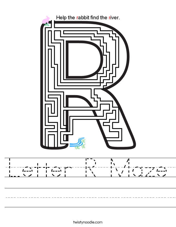 letter r maze worksheet twisty noodle. Black Bedroom Furniture Sets. Home Design Ideas