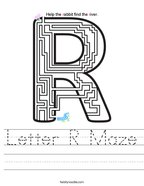 Letter R Maze Handwriting Sheet