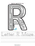 Letter R Maze Handwriting Sheet