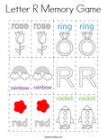 Letter R Memory Game Coloring Page
