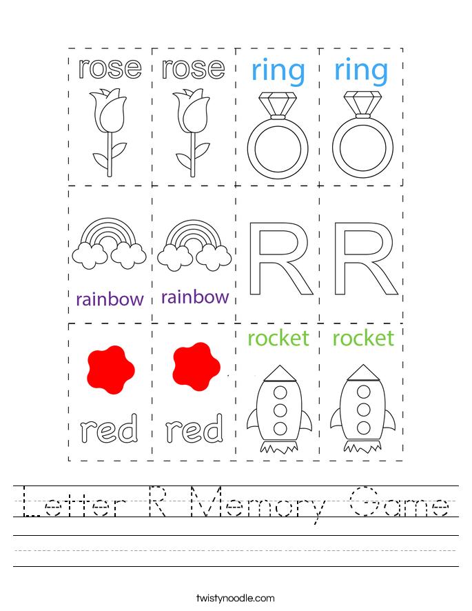 Letter R Memory Game Worksheet