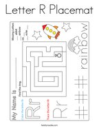 Letter R Placemat Coloring Page