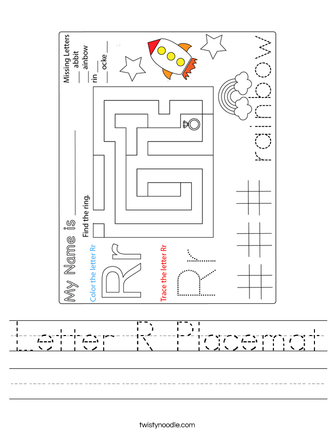 Letter R Placemat Worksheet