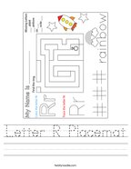 Letter R Placemat Handwriting Sheet