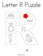 Letter R Puzzle Coloring Page
